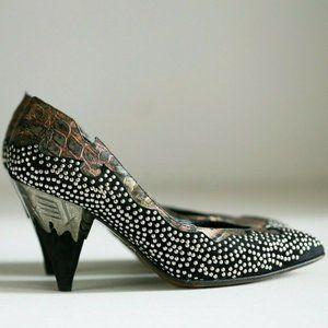 Gianmarco Lorenzi 80s OOAk Stud Crock Print Heels